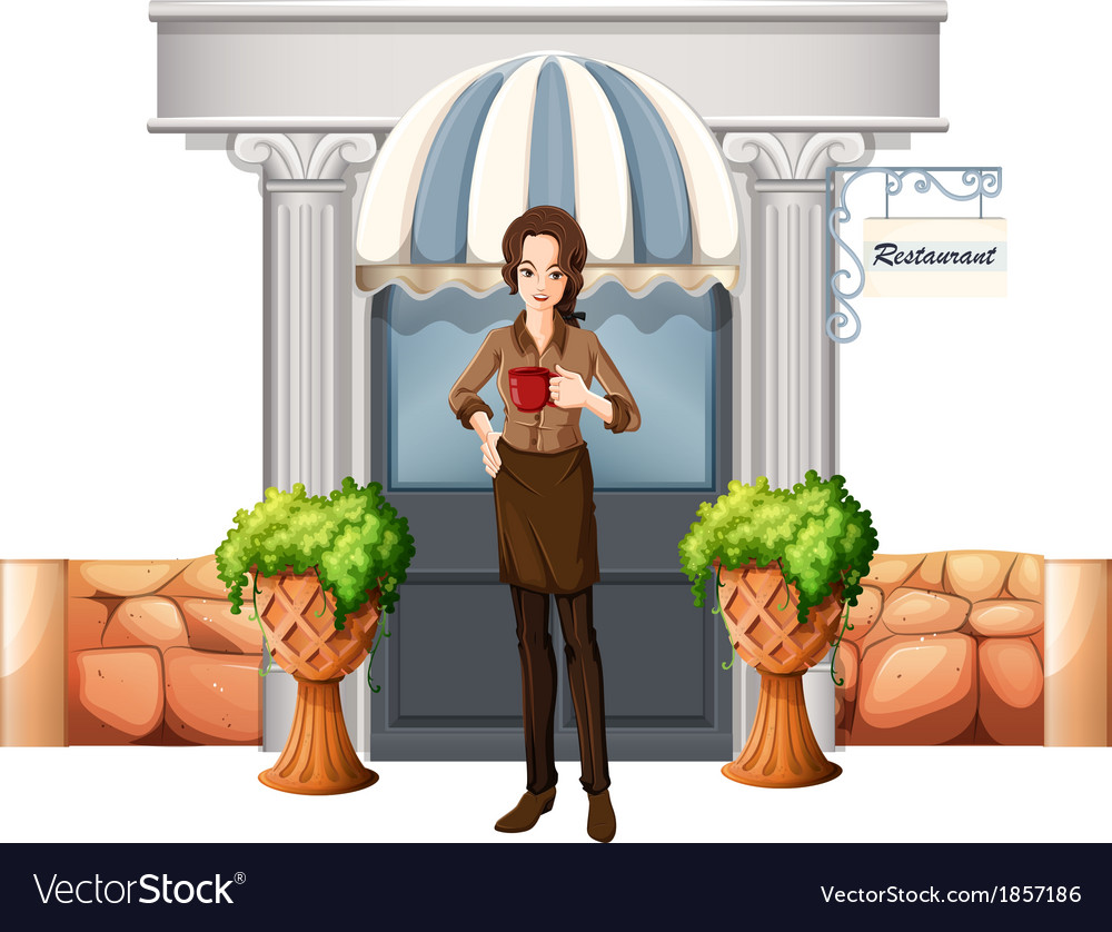 A lady in front of the restaurant vector | Price: 1 Credit (USD $1)
