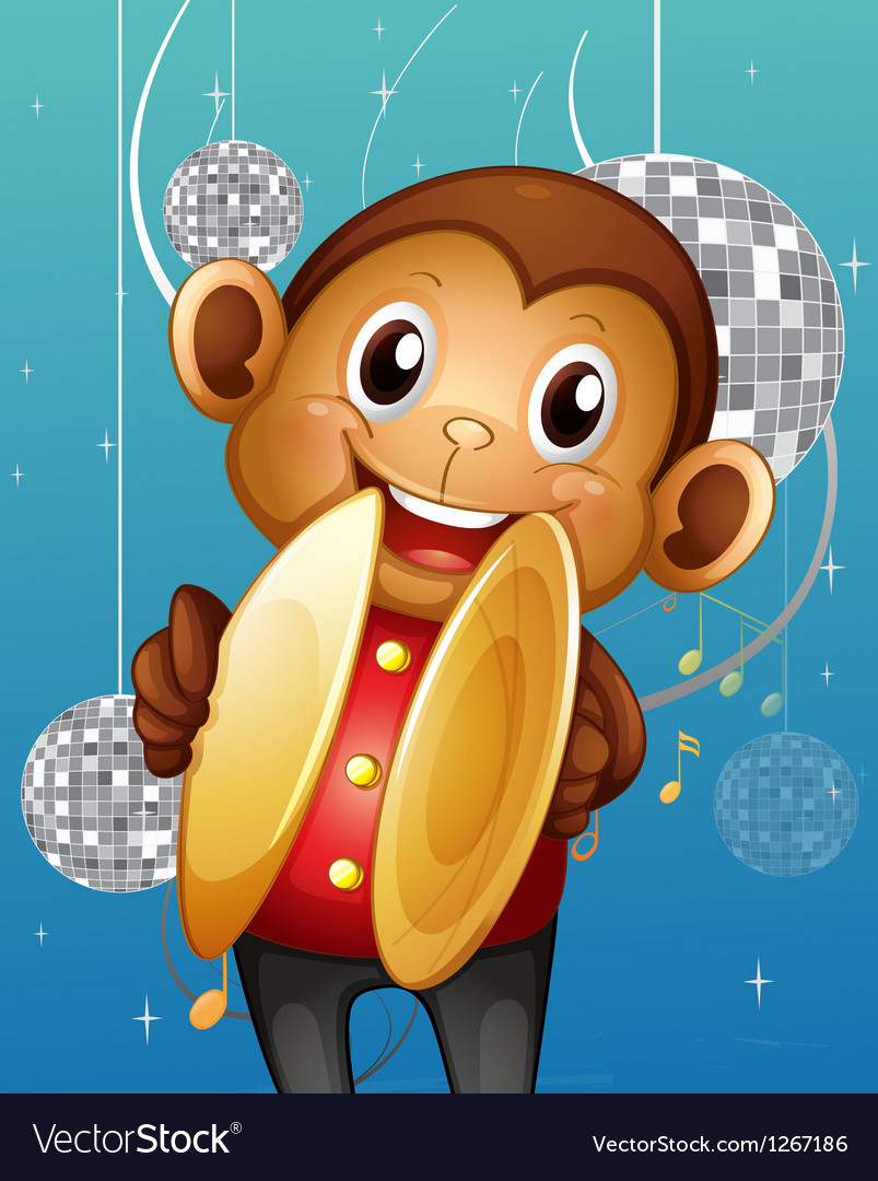 A monkey with cymbals in a disco house vector | Price: 1 Credit (USD $1)
