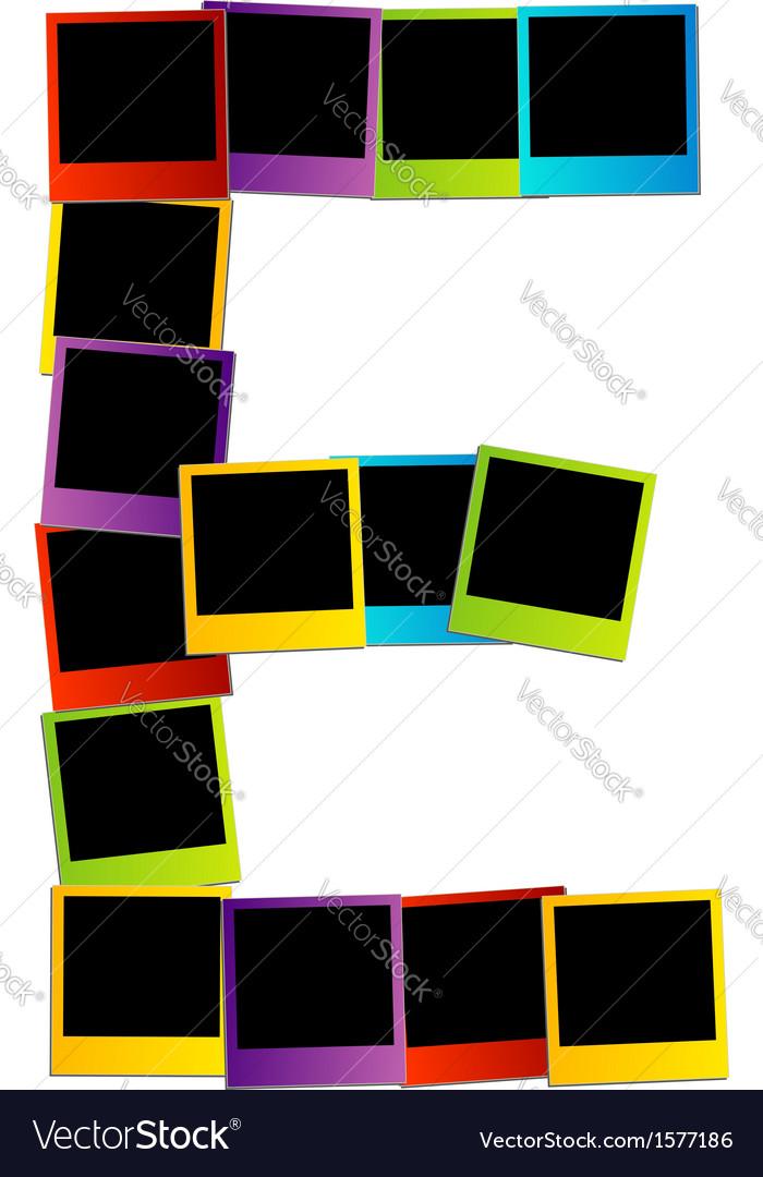 Alphabet e with colorful polaroids vector | Price: 1 Credit (USD $1)