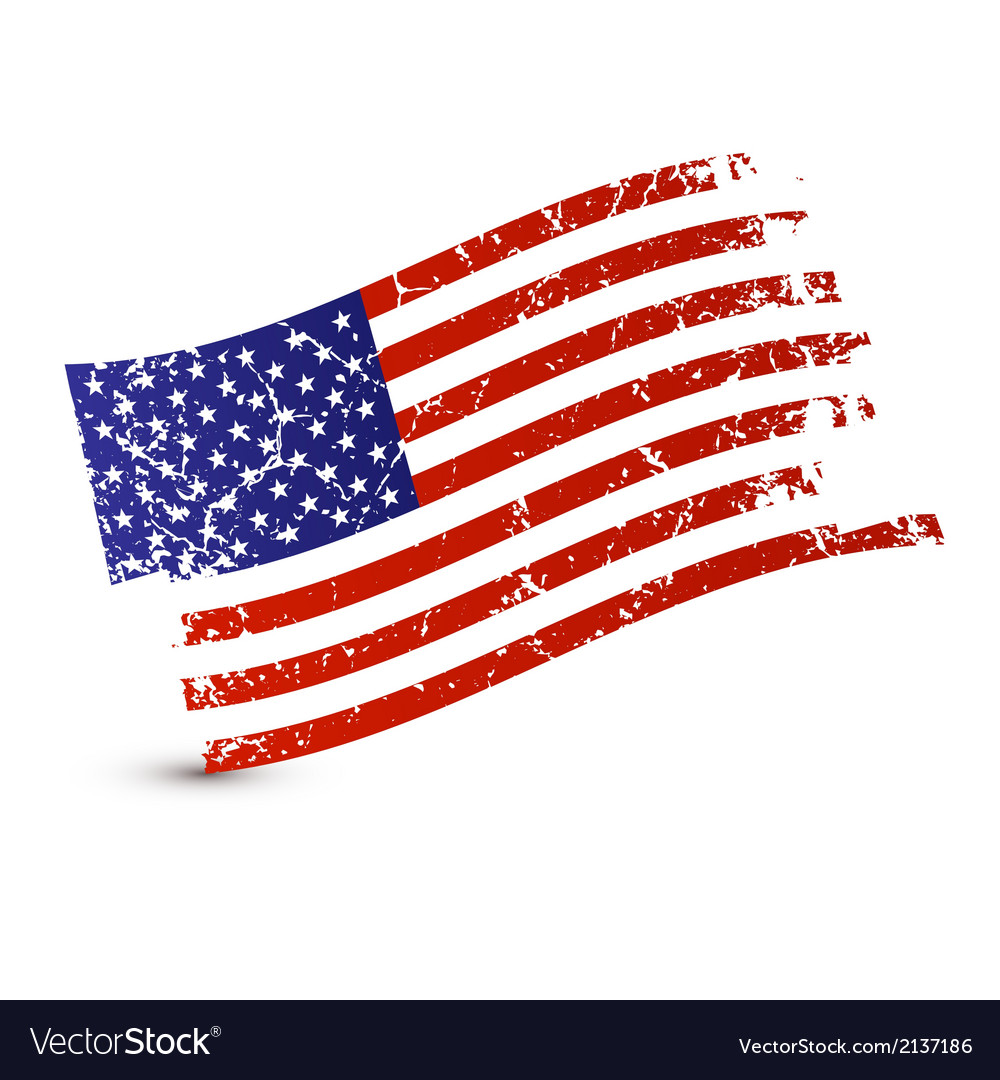 American flag - dirty grunge isolated on white vector | Price: 1 Credit (USD $1)