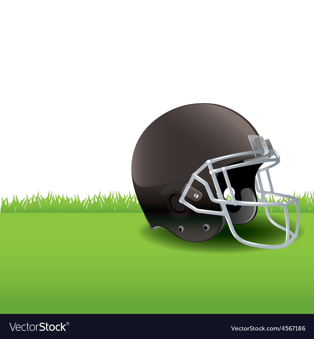 American football helmet sitting in the grass vector | Price: 1 Credit (USD $1)