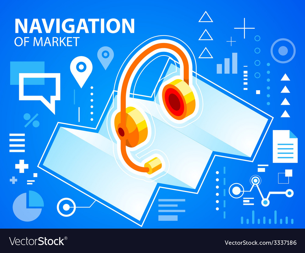 Bright navigation map and head phone on blue vector | Price: 3 Credit (USD $3)