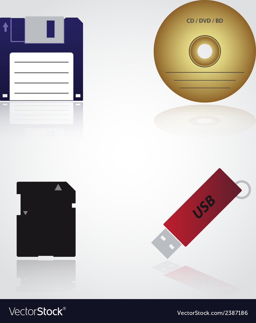 Data storage media types eps10 vector | Price: 1 Credit (USD $1)