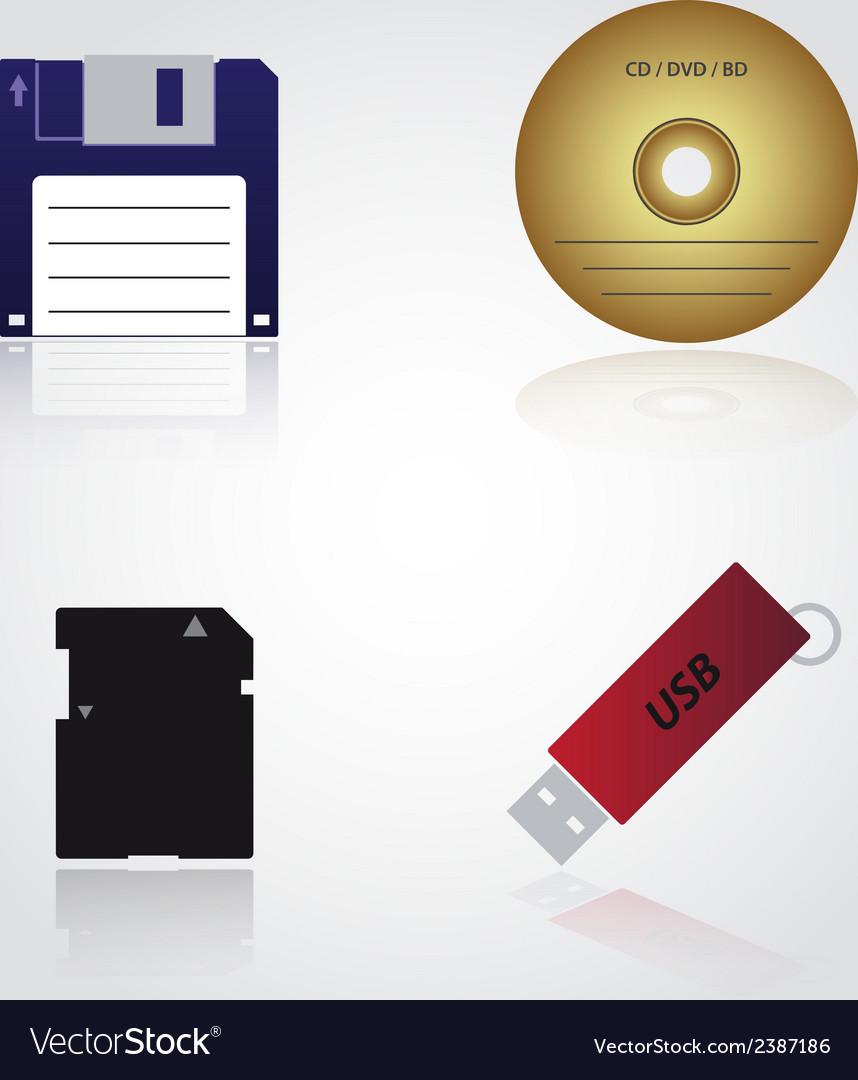 Data storage media types eps10 vector | Price: 1 Credit (USD $1)