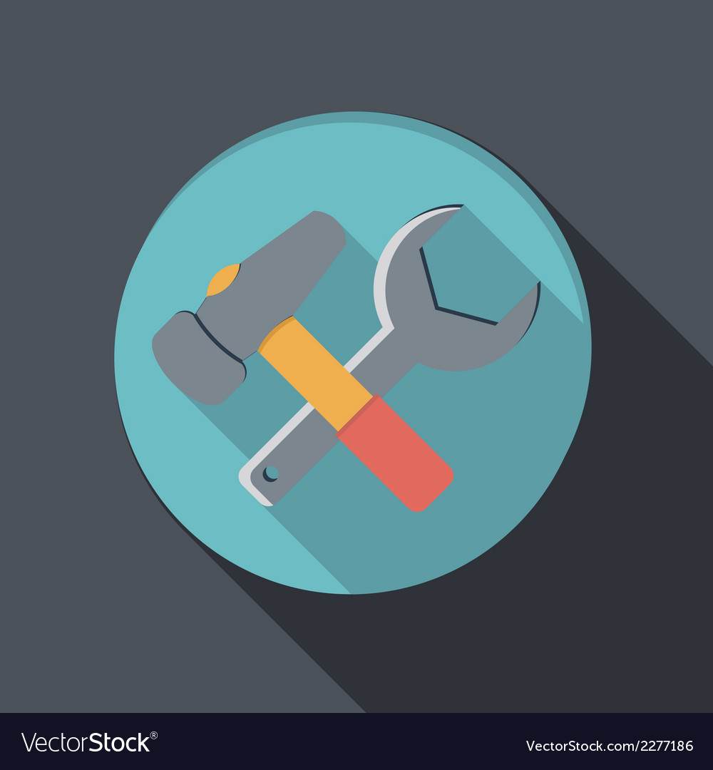 Flat icon with a shadow hammer and wrench vector | Price: 1 Credit (USD $1)