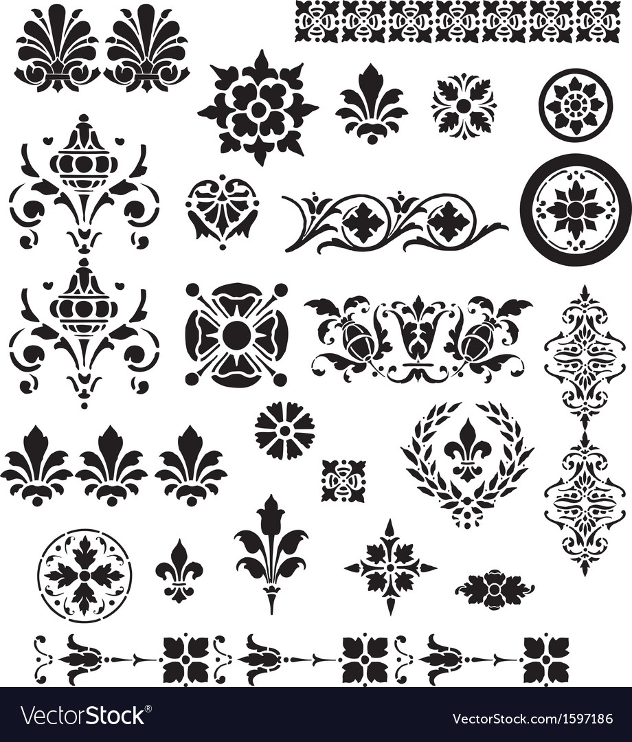 Floral decorative set vector | Price: 1 Credit (USD $1)