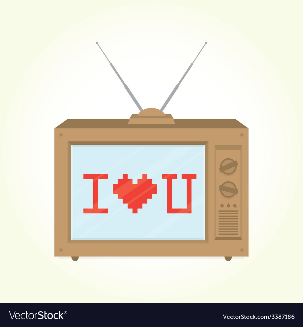 I love you retro television vector | Price: 1 Credit (USD $1)