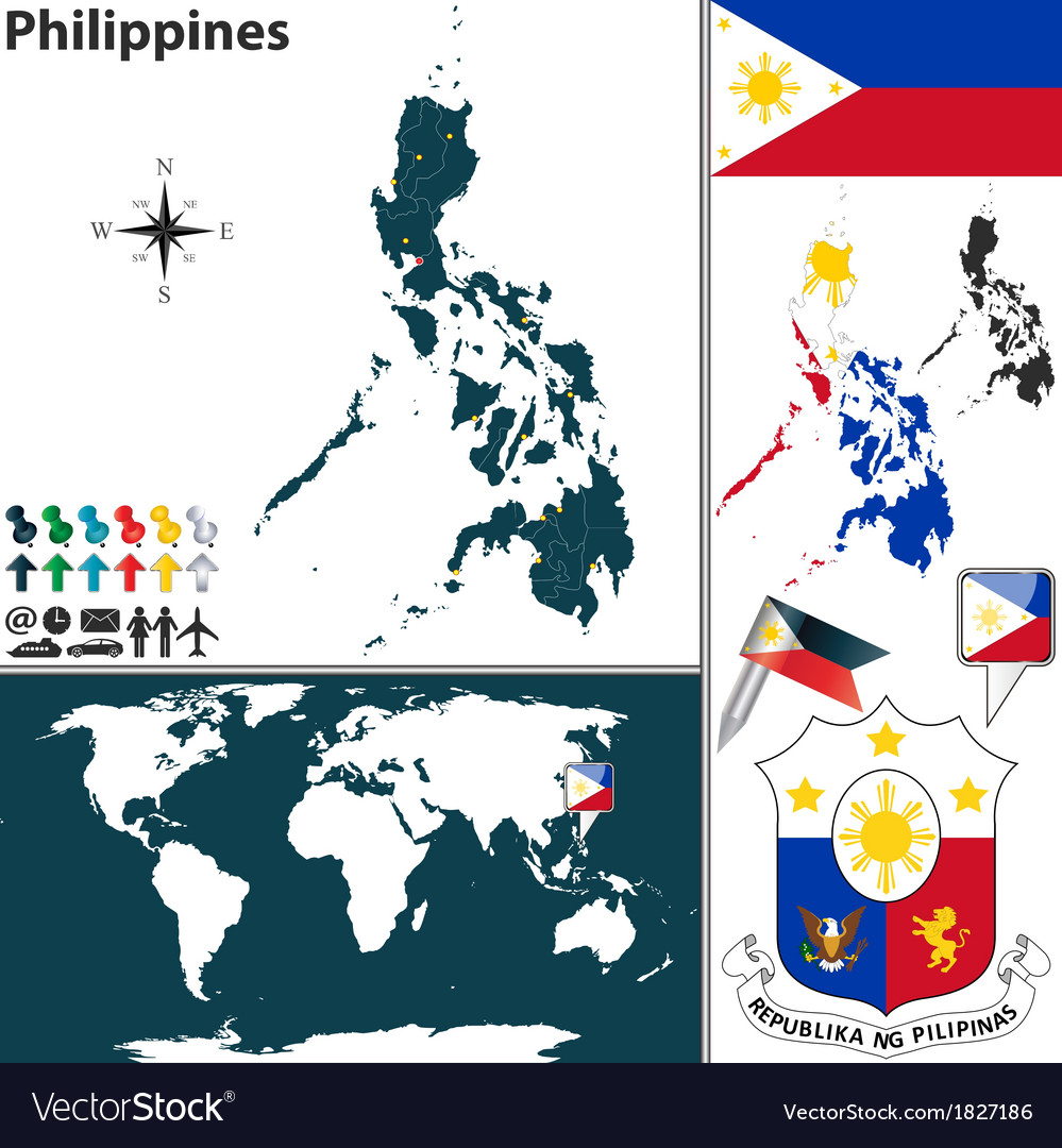 Philippines map world vector | Price: 1 Credit (USD $1)