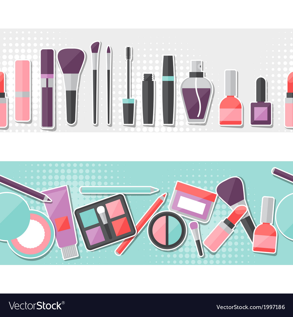 Seamless background with cosmetics sticker icons vector | Price: 1 Credit (USD $1)