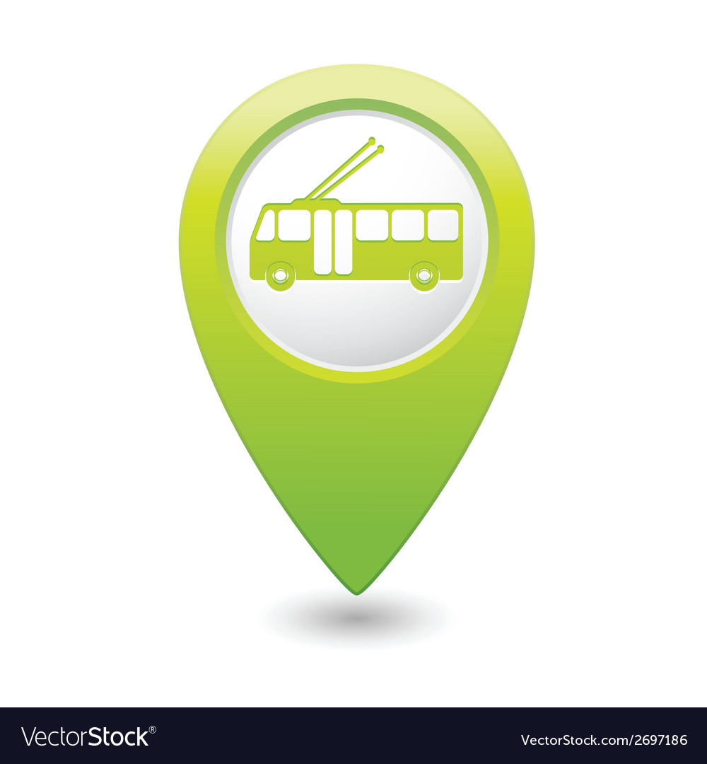 Trolleybus icon green map pointer vector | Price: 1 Credit (USD $1)
