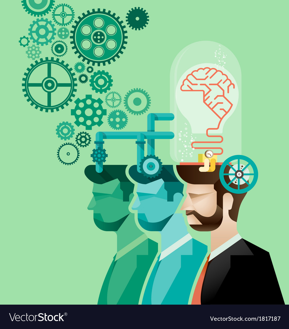 Business man and brain gears in progress vector | Price: 3 Credit (USD $3)