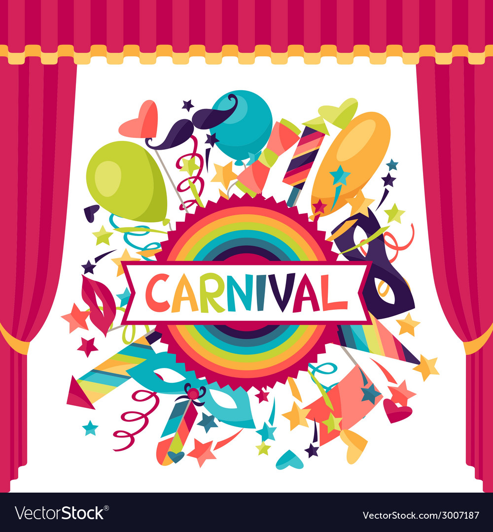 Celebration festive background with carnival icons vector | Price: 1 Credit (USD $1)