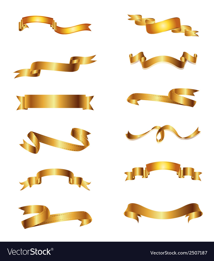Collection of golden ribbons gold set vector | Price: 1 Credit (USD $1)