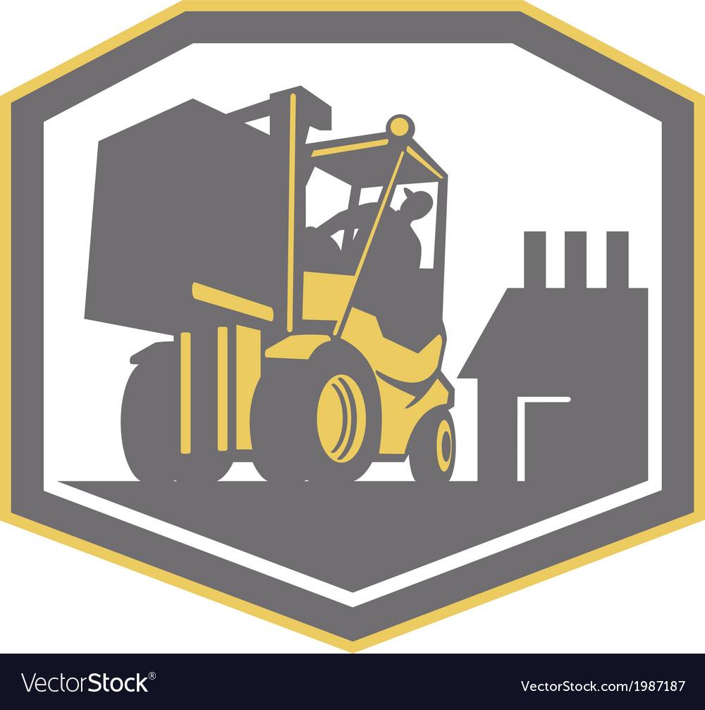 Forklift truck materials handling logistics retro vector | Price: 1 Credit (USD $1)