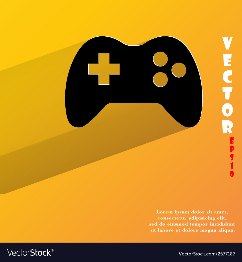 Gaming joystick flat modern web button with long vector | Price: 1 Credit (USD $1)