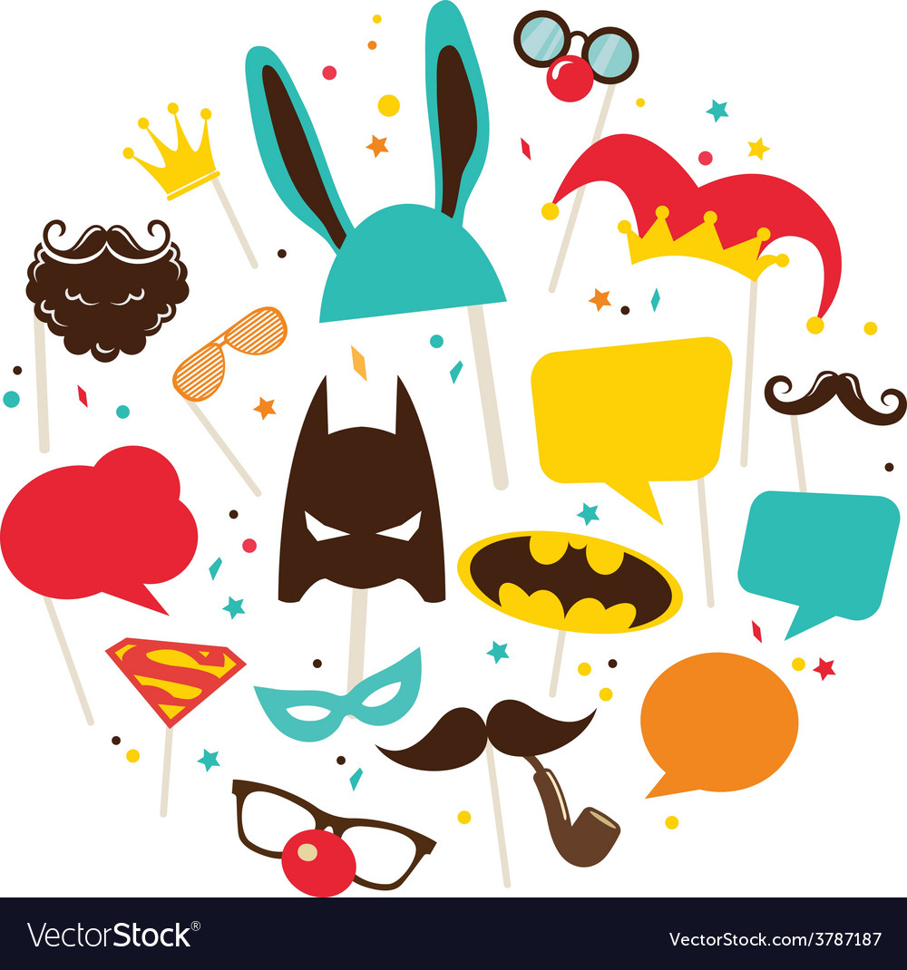 Mask and costumes for photo booth colorful props vector | Price: 1 Credit (USD $1)