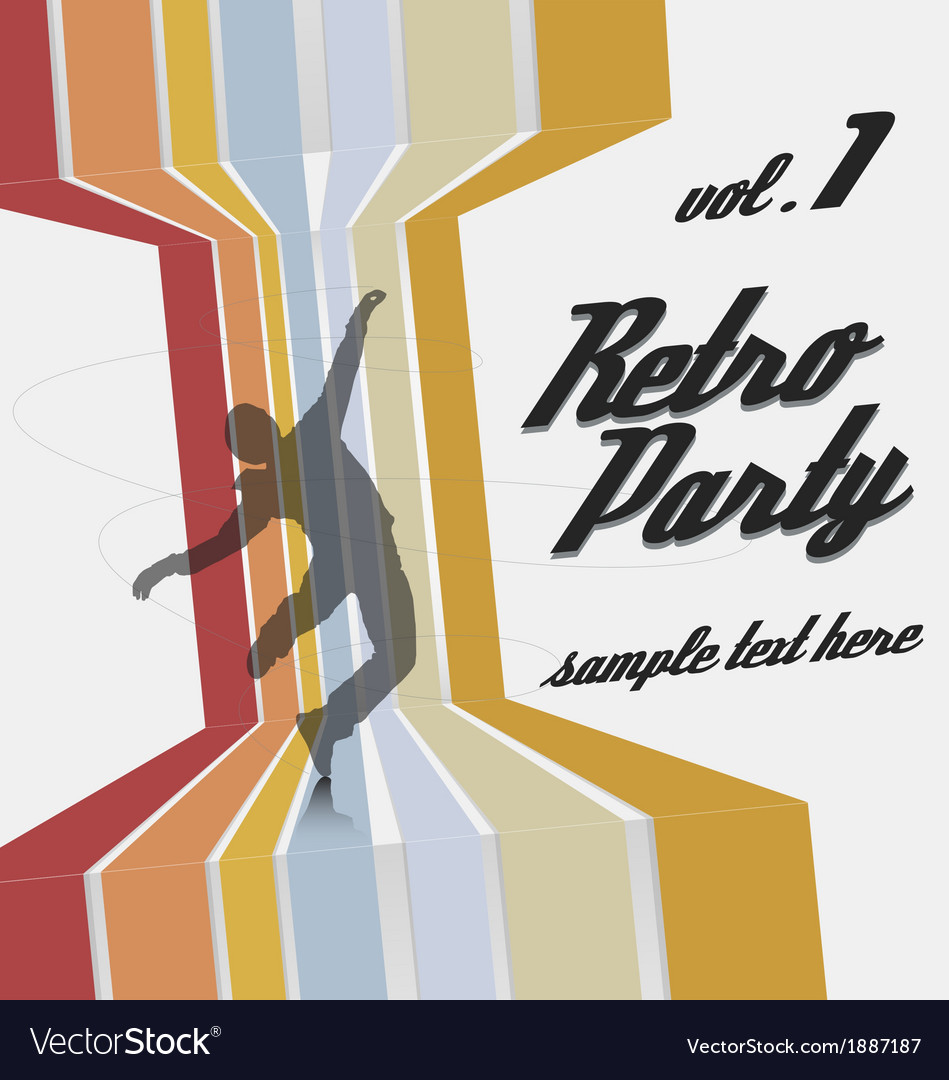 Retro party flyer template vector | Price: 1 Credit (USD $1)