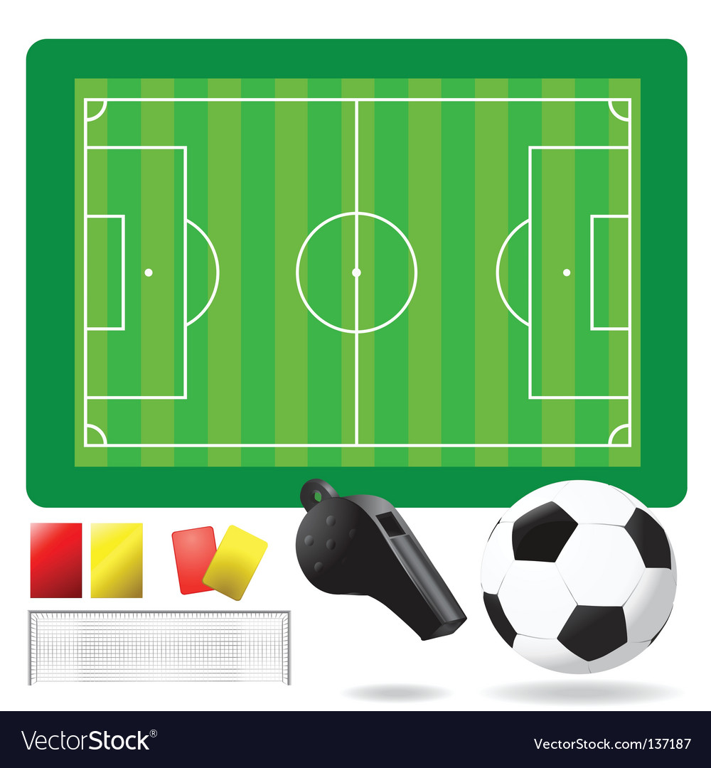 Soccer field ball and objects vector | Price: 1 Credit (USD $1)