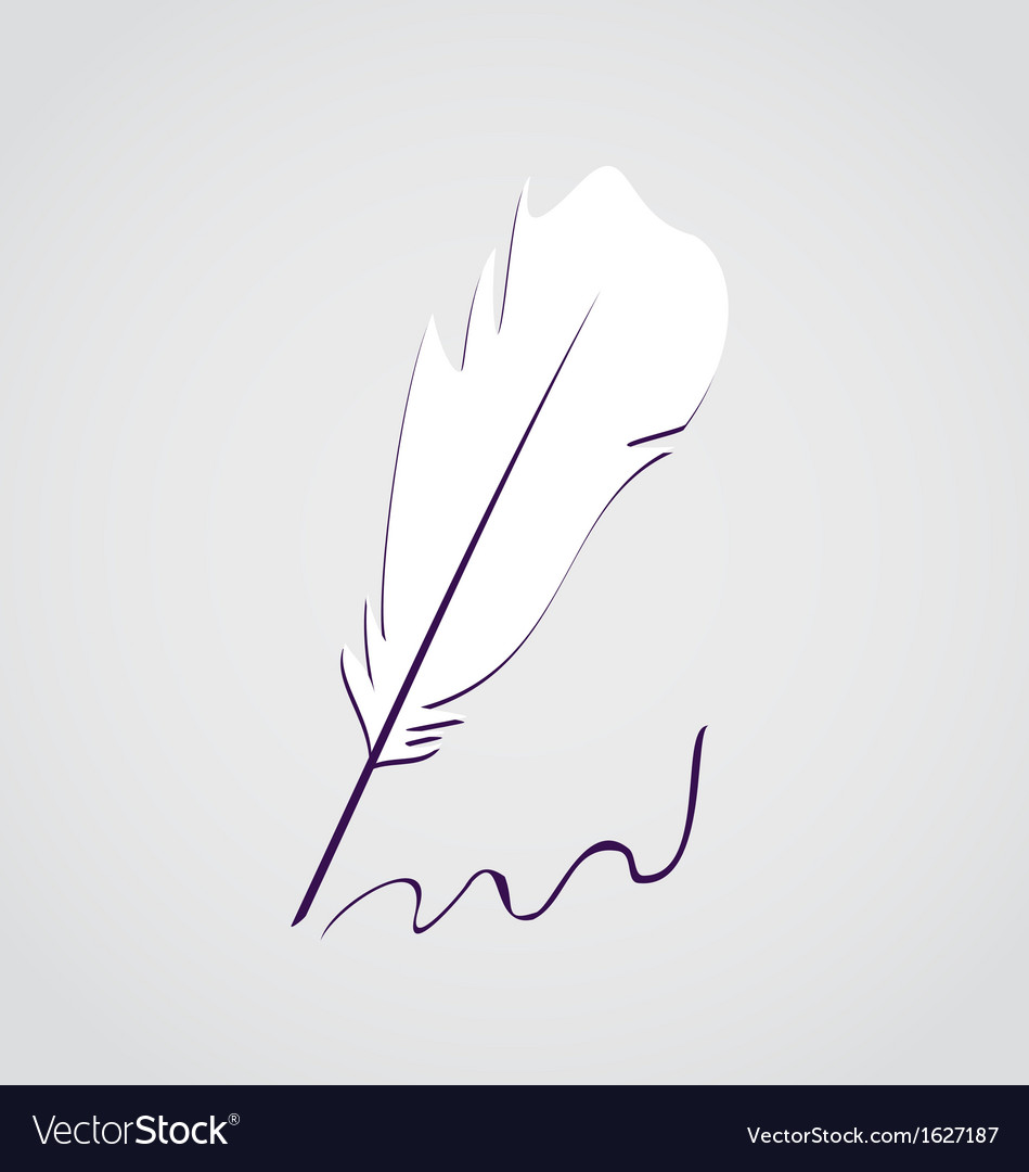 White feather calligraphic pen vector | Price: 1 Credit (USD $1)