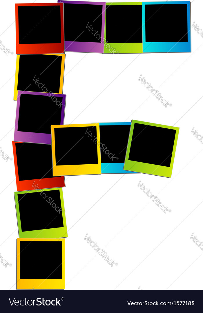 Alphabet f with colorful polaroids vector | Price: 1 Credit (USD $1)