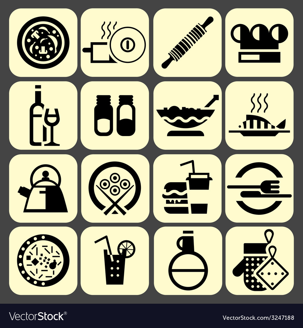 Cooking food icons set black vector | Price: 1 Credit (USD $1)