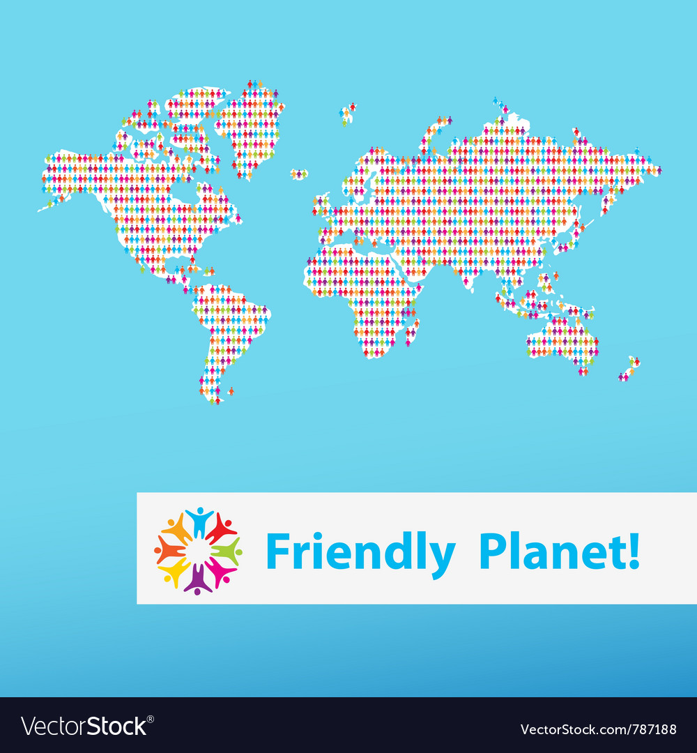 Friendly planet different people vector | Price: 1 Credit (USD $1)