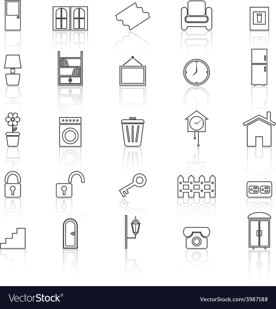 House related line icons with reflect on white vector | Price: 1 Credit (USD $1)