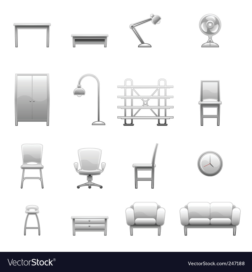 Household object set vector | Price: 1 Credit (USD $1)