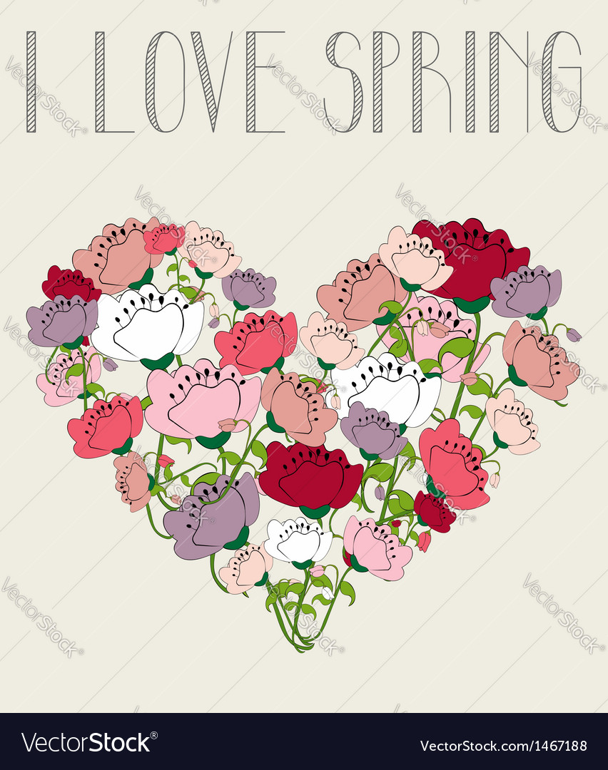 I love spring heart background vector | Price: 1 Credit (USD $1)