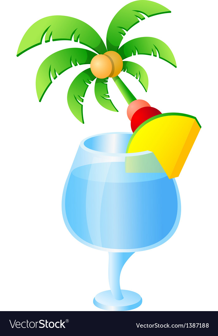 Icon palm tree and drink vector
