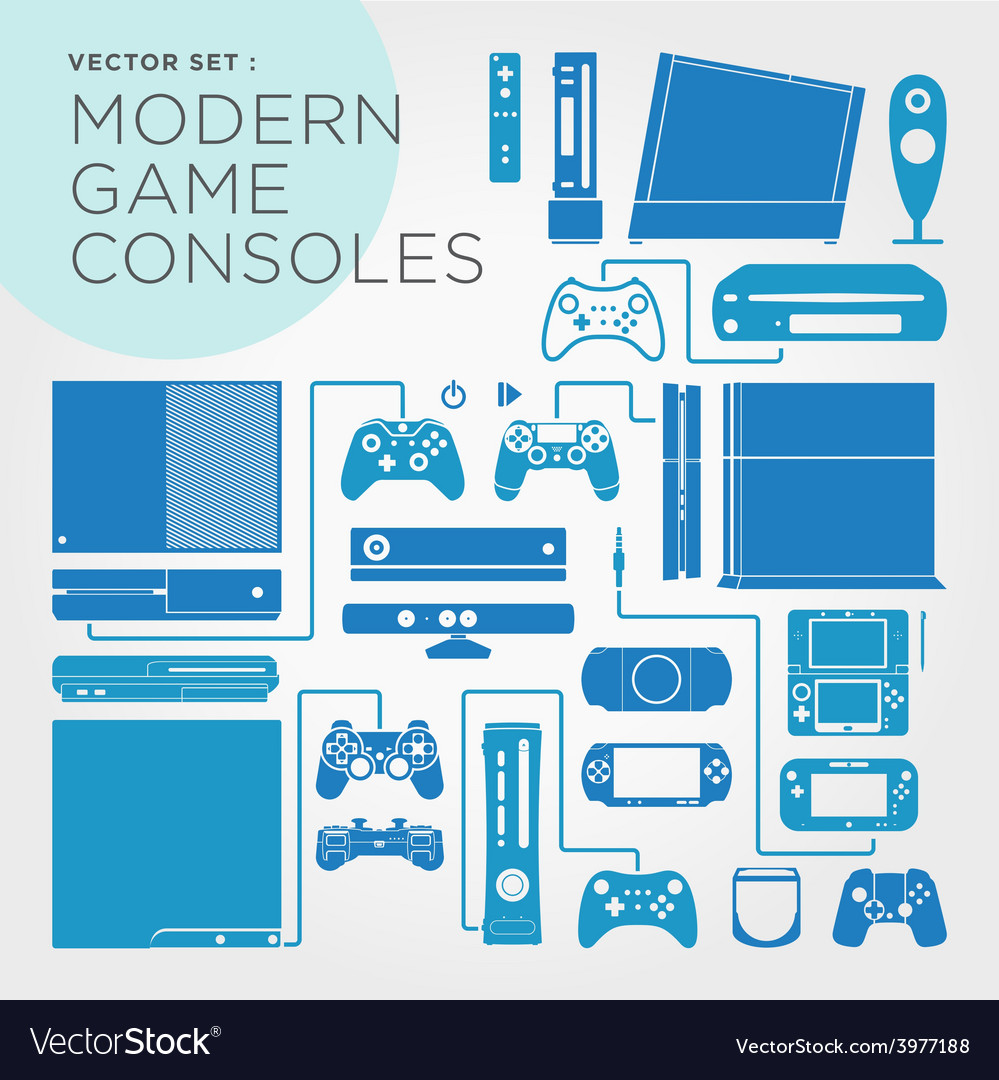 Modern game consoles vector | Price: 1 Credit (USD $1)