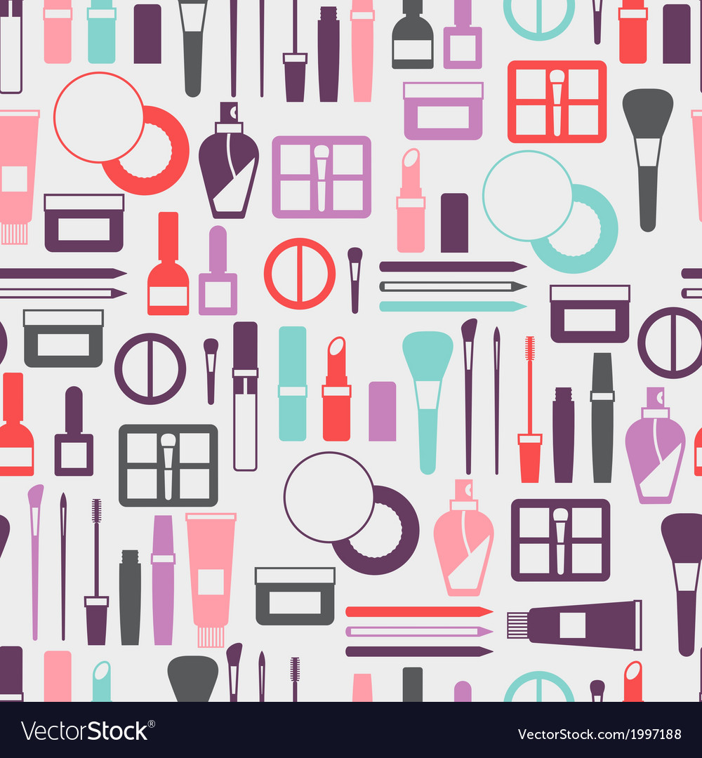 Seamless background with cosmetics icons vector | Price: 1 Credit (USD $1)