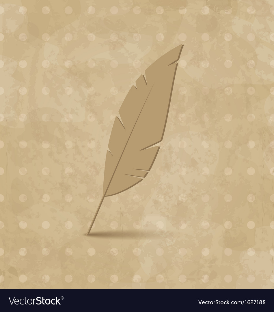 Vintage feather on grunge background vector | Price: 1 Credit (USD $1)