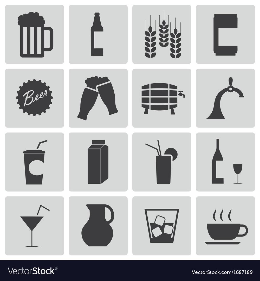 Black beer and beverage icons set vector