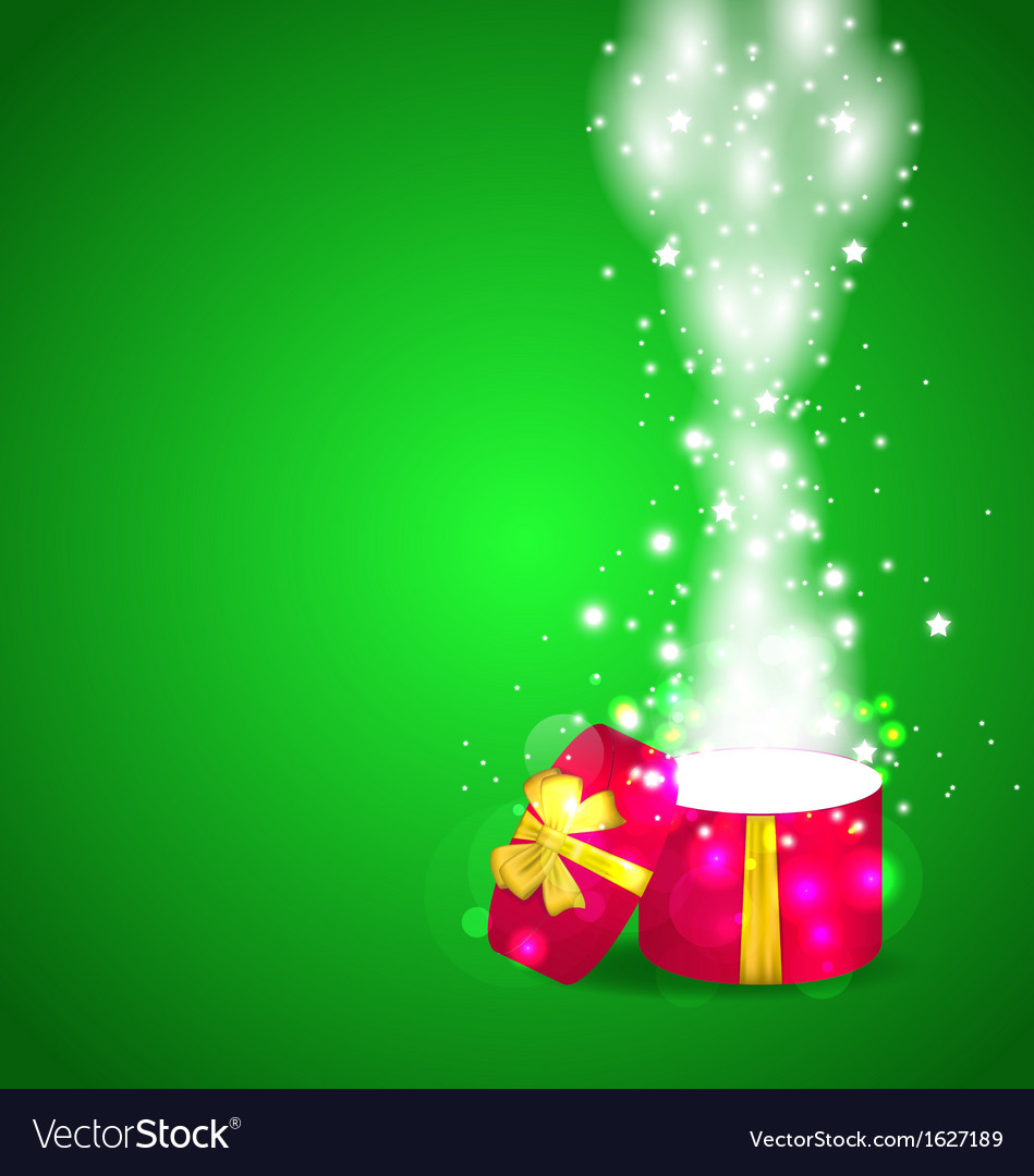 Christmas magic gift box open vector | Price: 1 Credit (USD $1)