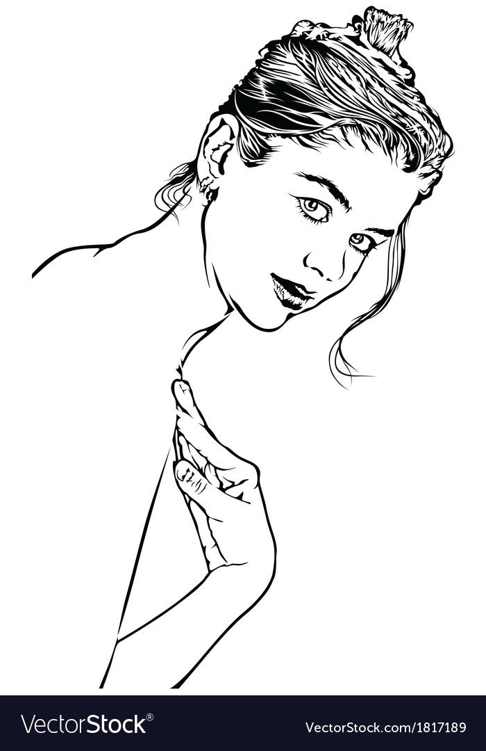 Girl sketch vector   Price: 1 Credit (USD $1)