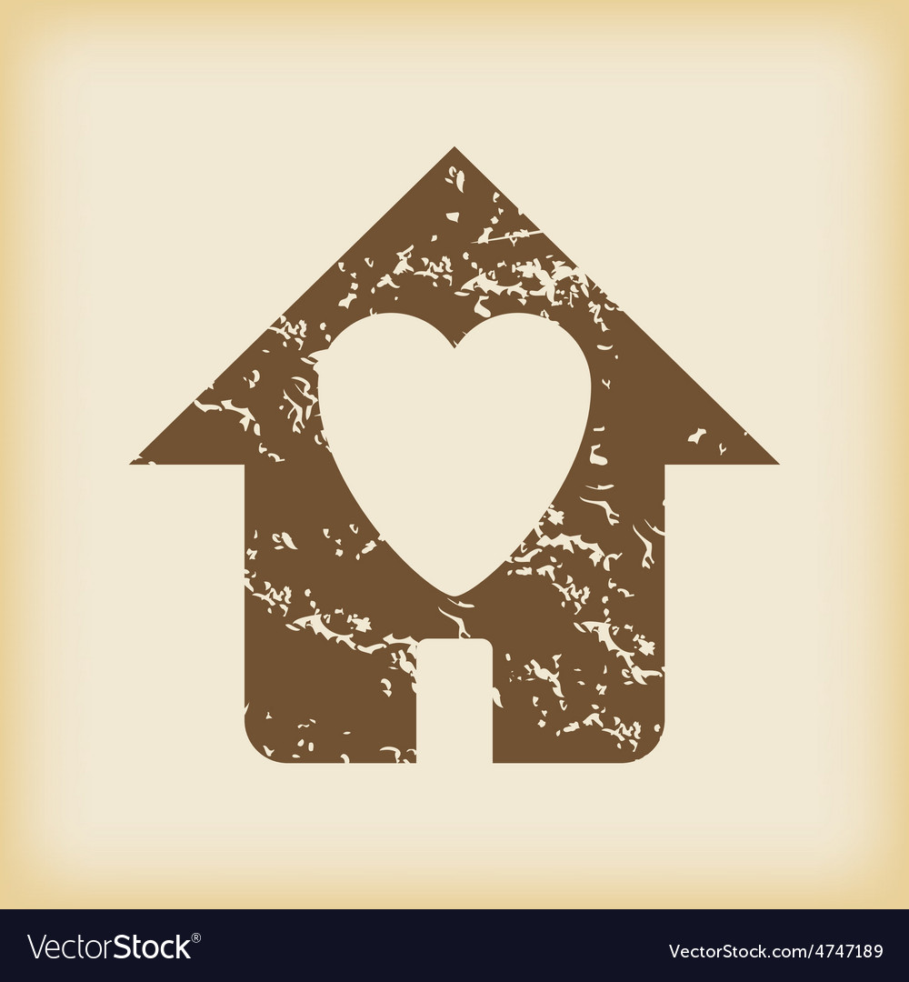 Grungy beloved house icon vector   Price: 1 Credit (USD $1)