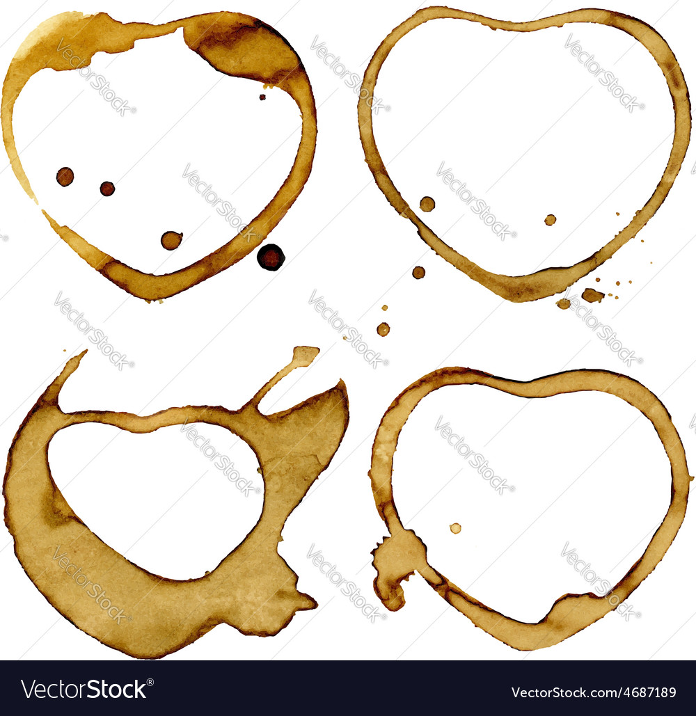 Heart shaped coffee cup stains vector | Price: 1 Credit (USD $1)
