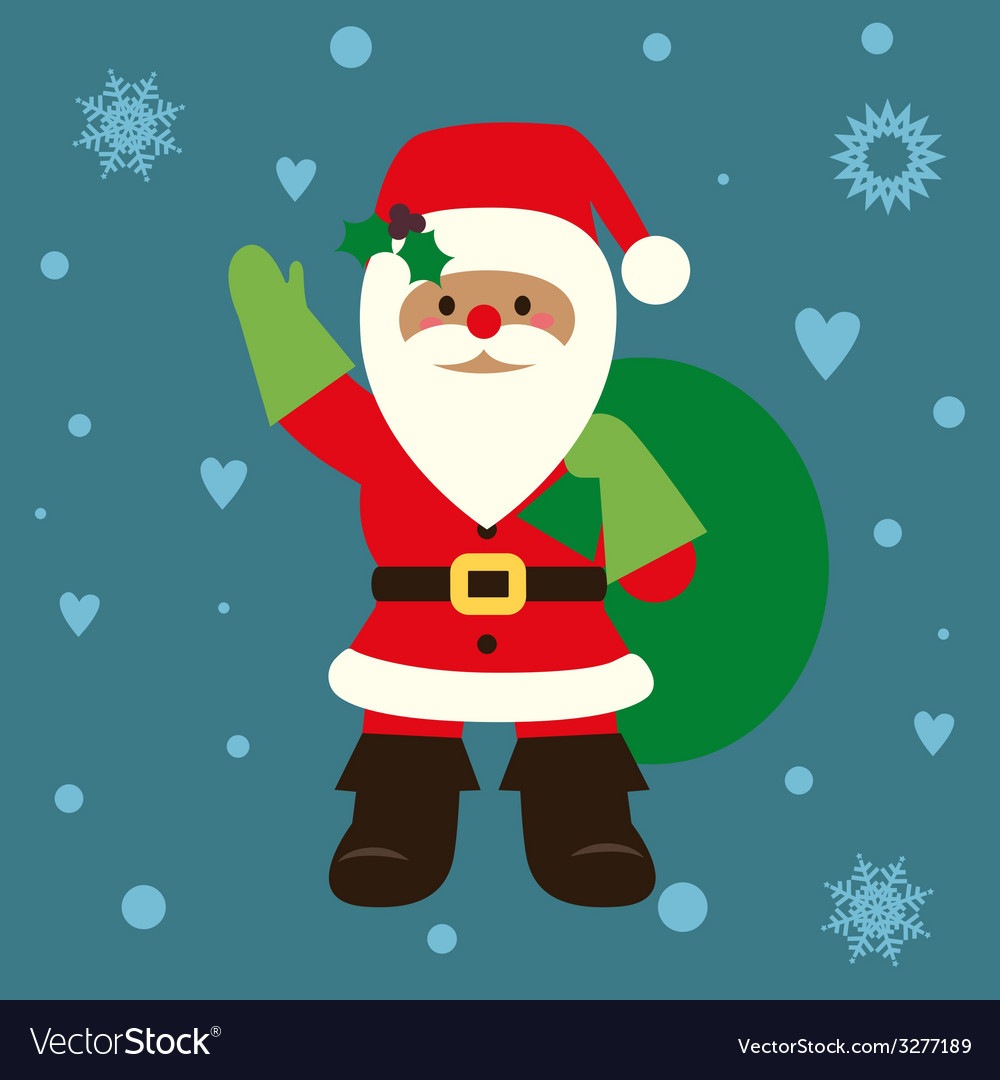 Holiday card with santa vector | Price: 1 Credit (USD $1)