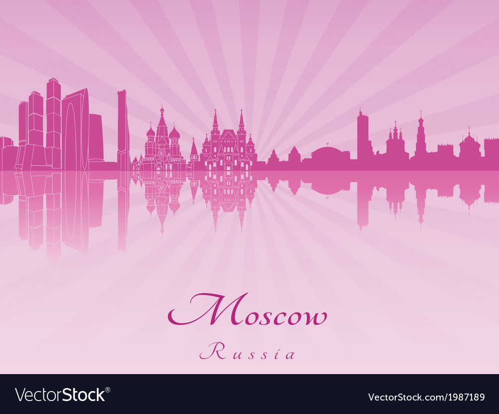 Moscow skyline in purple radiant orchid vector | Price: 1 Credit (USD $1)
