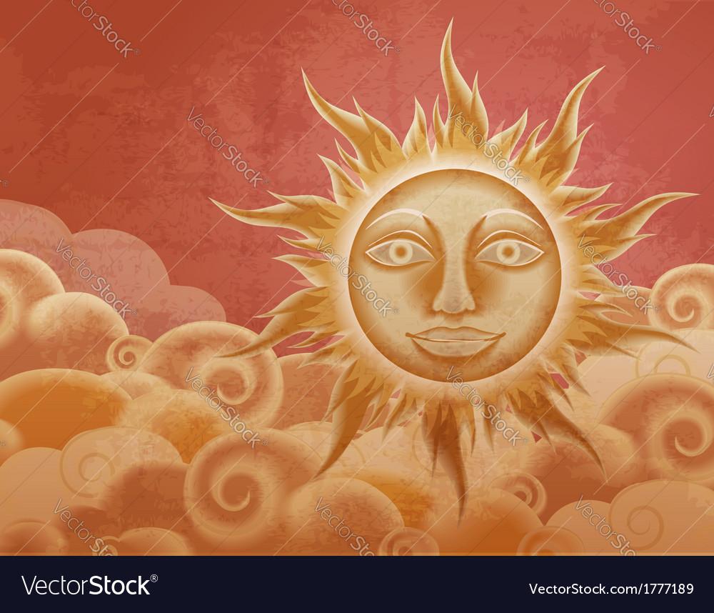 Vintage sun vector | Price: 1 Credit (USD $1)