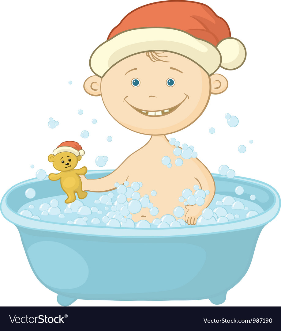 Baby santa claus washing in the bath vector | Price: 3 Credit (USD $3)