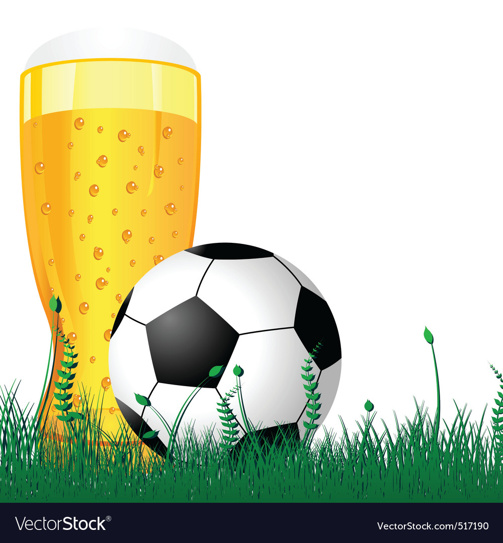 Beer and soccer ball vector | Price: 1 Credit (USD $1)