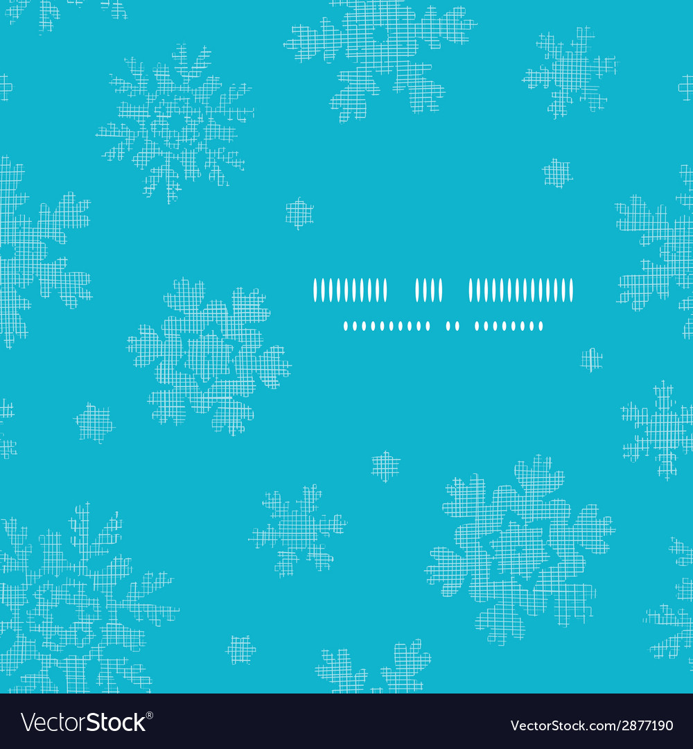 Blue lace snowflakes textile template frame vector | Price: 1 Credit (USD $1)