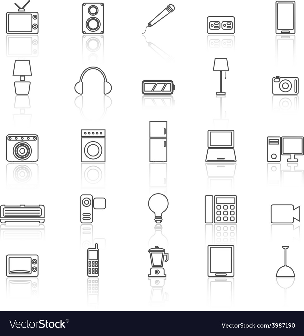 Electrical machine line icons with reflect vector | Price: 1 Credit (USD $1)