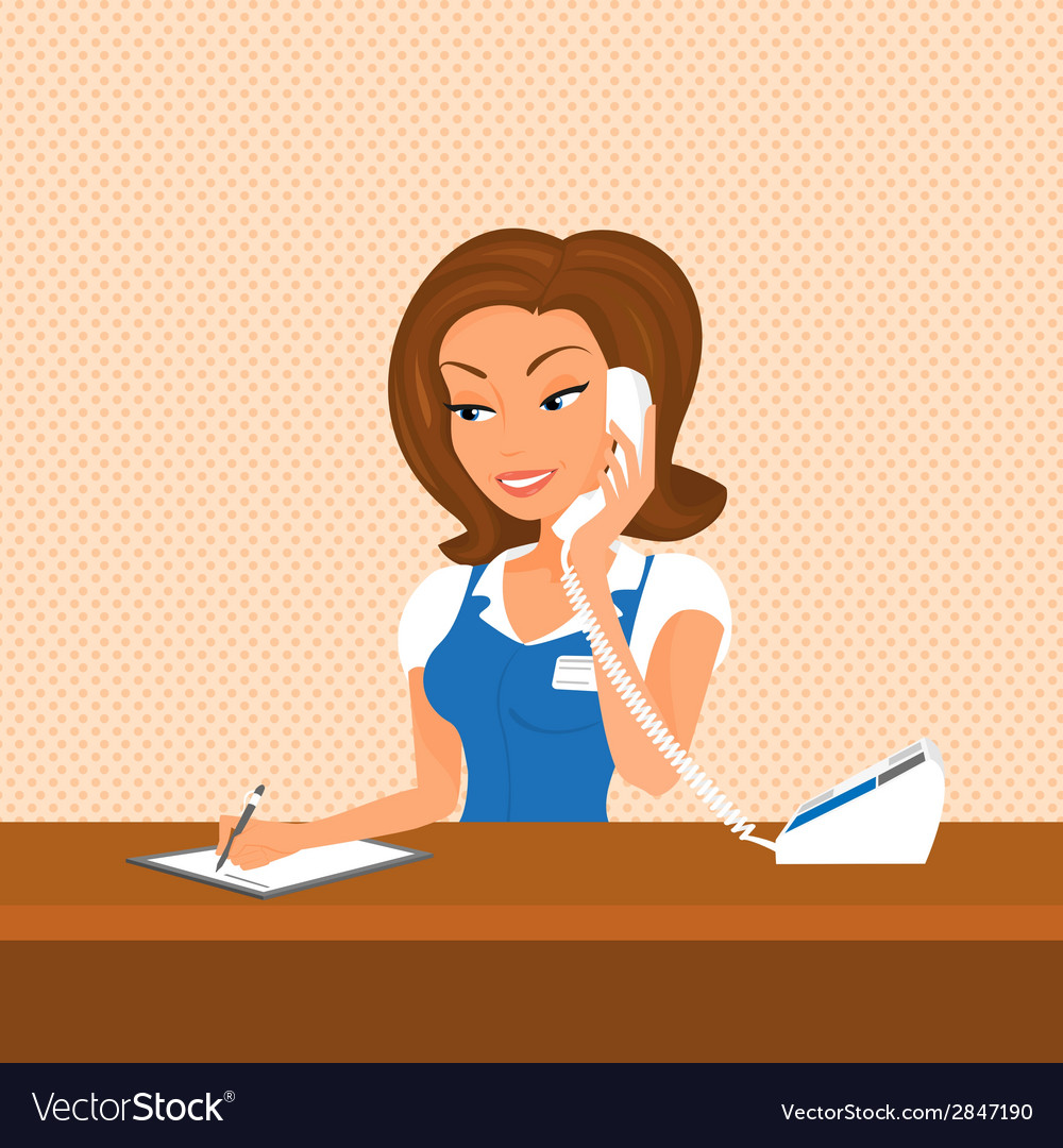 Female receptionist is taking a call vector | Price: 1 Credit (USD $1)