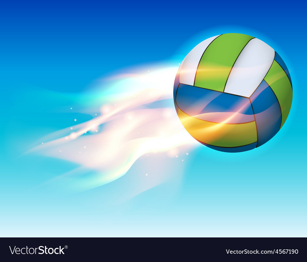 Flaming volleyball in the sky vector | Price: 1 Credit (USD $1)