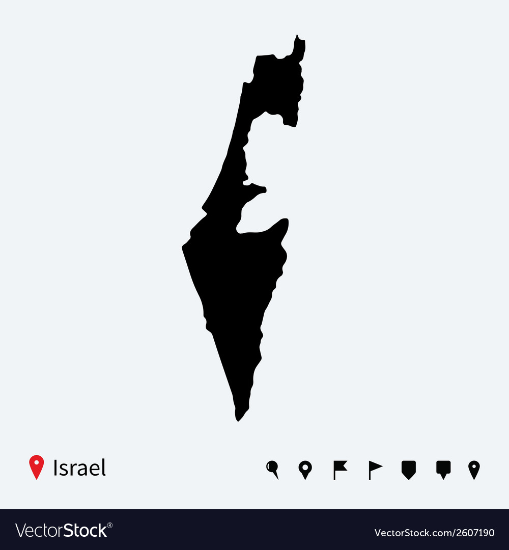 High detailed map of israel with navigation pins vector | Price: 1 Credit (USD $1)