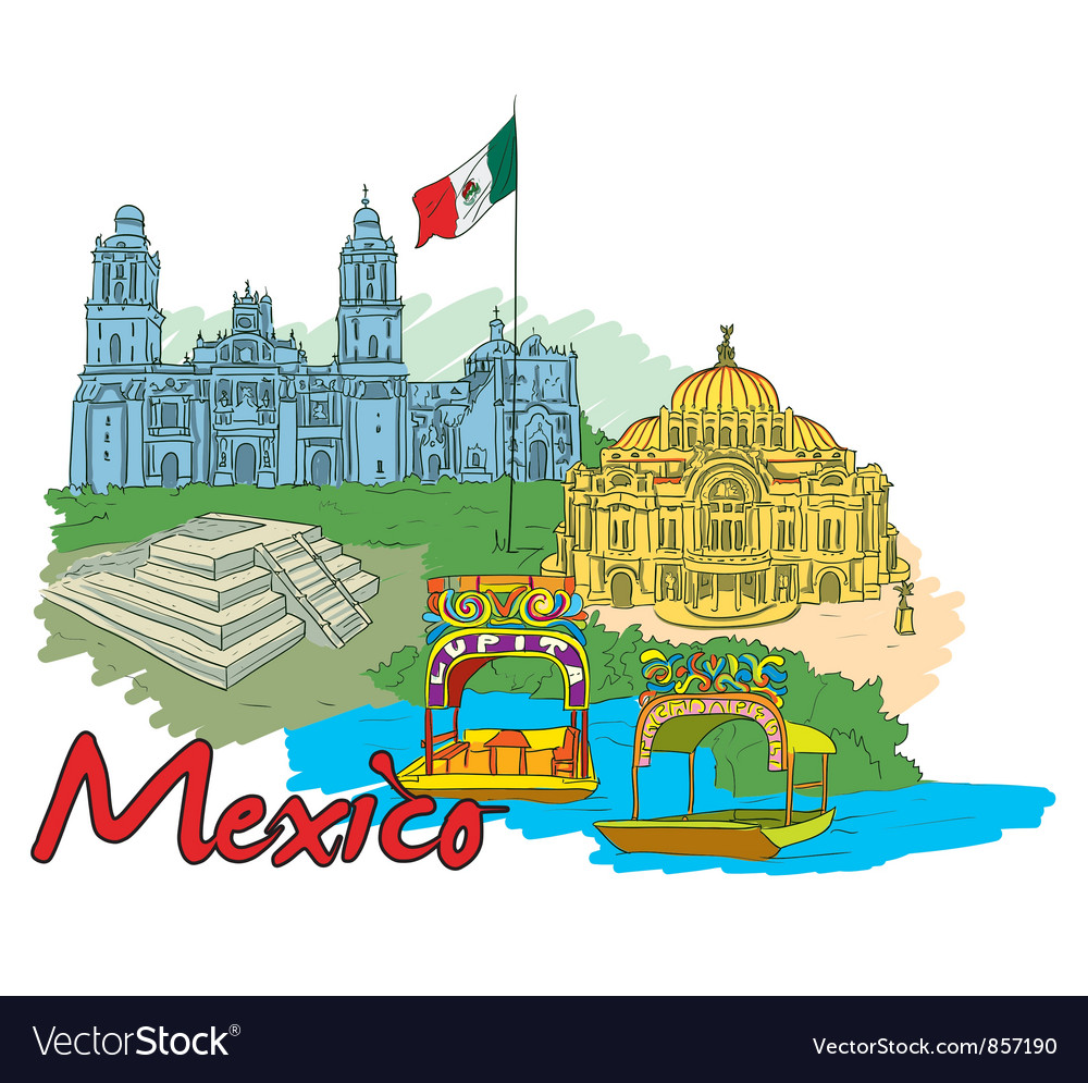 Mexico doodles vector | Price: 3 Credit (USD $3)