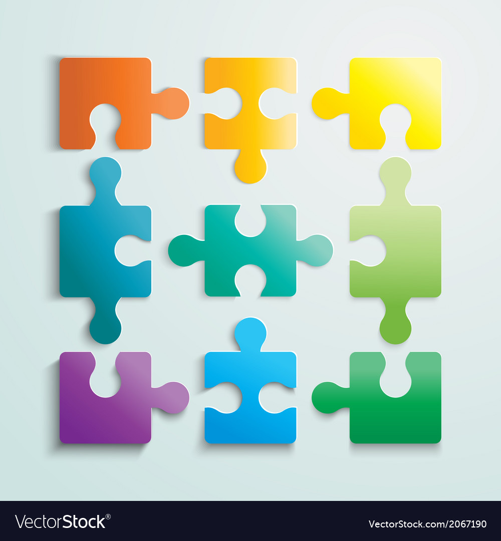 Paper flat puzzle template layout vector | Price: 1 Credit (USD $1)